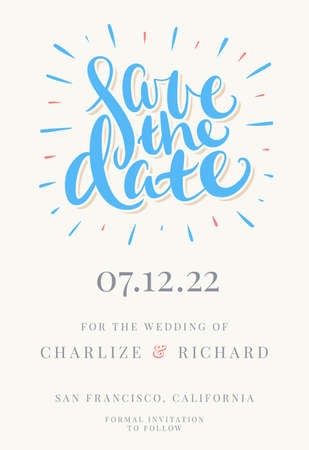 Save the date. Vector invitation.