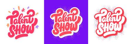 Talent Show Vector lettering handwritten banners set.