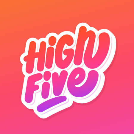 High five. Vector handwritten lettering icon.