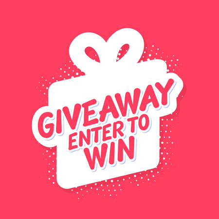 Giveaway. Enter to Win. Vector lettering banner with gift box icon.