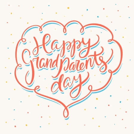 Happy grandparents day. Greeting card. Vector handwritten lettering.
