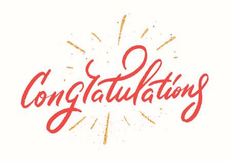 Congratulations. Vector handwritten lettering card.