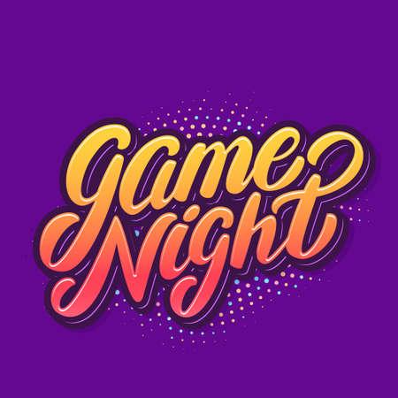 Game night banner. Vector handwritten lettering.