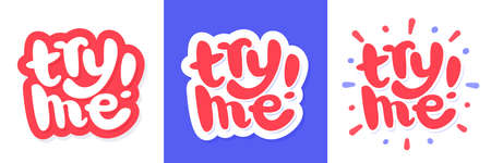 Try me. Vector lettering banners set.