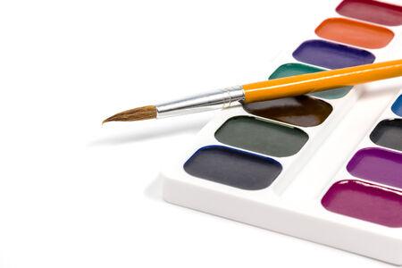 diagonally: Set of watercolor located diagonally with orange brush isolated on white background