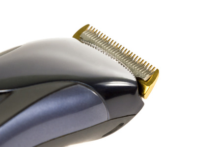 hair clippers: Blades black hair clippers closeup isolated on white background Stock Photo