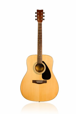 Classical acoustic guitar brown with black overlay on the deck front view isolated on white background