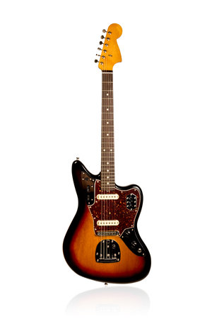 Beautiful black and yellow classic electric guitar front view isolated on white background