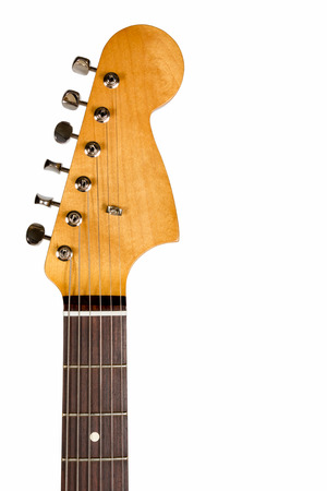 guitar tuner: Headstock of the six string classic electric guitar on white background