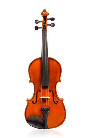Beautiful brown classical violin front view isolated on white background photo