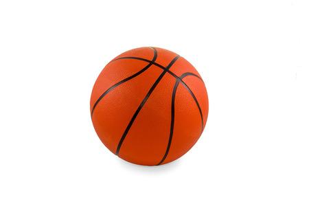 Classic orange basketball with black stripes isolated on white background photo