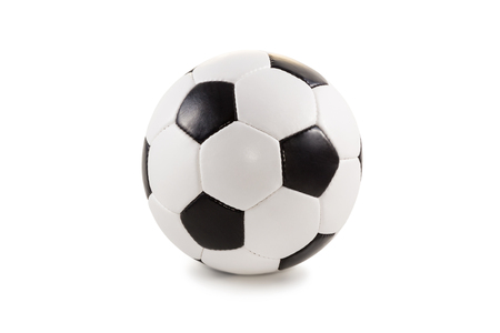 Classic black and white soccer ball isolated on a plain background