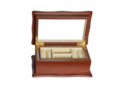 compartments: Wooden vintage open gift box with multiple compartments isolated on white background