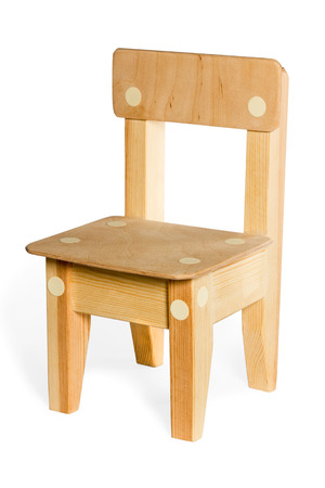Little classic wooden chair isolated on white background