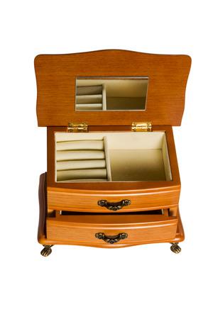Abteile: Holz-Geschenk-Box Set Kommode mit Spiegel Schublade und F�chern auf einem wei�en Hintergrund