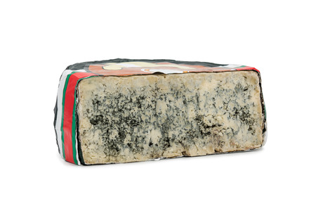Half of cheese with mold Cabrales in wrapper isolated on white background Standard-Bild