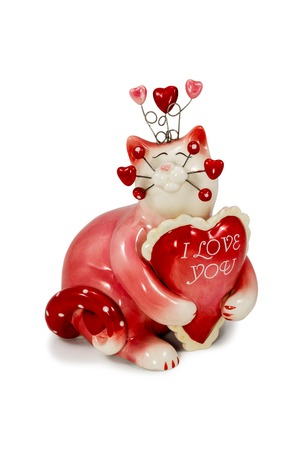 Gift red cat statuette with the words Love you isolated on a white background photo