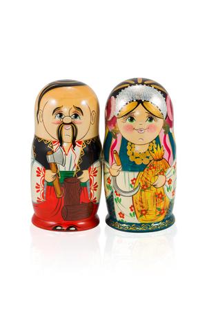 matroshka: Ukrainian nested doll couple isolated on white background