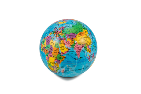 Blue globe rotated Africa and Eurasia to the camera isolated on white background photo