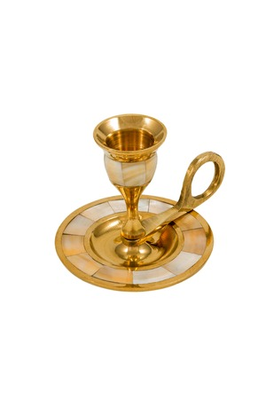 Golden vintage empty candlestick on one candle isolated on a white background photo