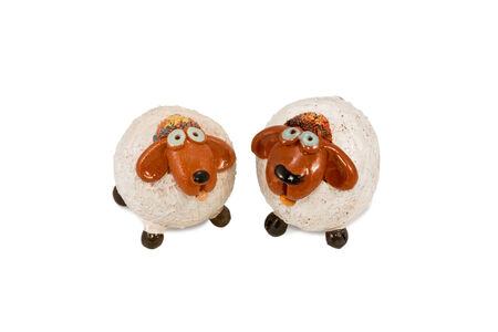 lop: Two decorative ceramic funny sheep isolated on white background Stock Photo