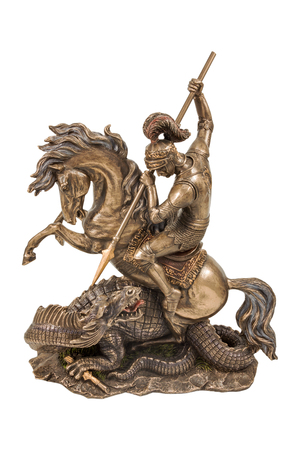 the victorious: Bronze statuette of George the Victorious the dragon wins isolated on a white background