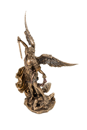 Gift bronze statuette of the Archangel Michael kills devil isolated on a white background