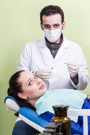 anesthetic: Patient afraid the dentist do an anesthetic injection