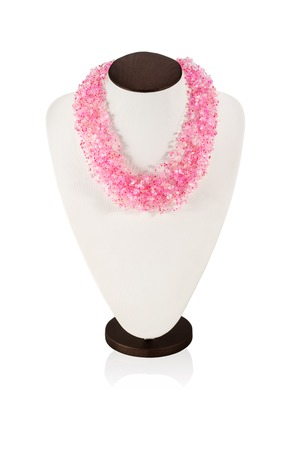 luxuriant: Luxuriant necklace handmade pink beads on a mannequin isolated on white background