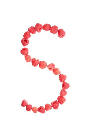 lettre s: Laid of ripe red raspberry letter S isolated on white background Banque d'images