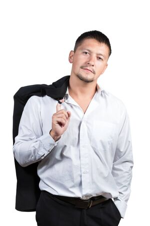threw: Portrait of a young man in shirt and trousers which threw his jacket over his shoulder isolated on white background Stock Photo