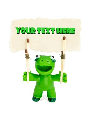 fictional character: Green plasticine fictional character with a banner above his head with a place for your text isolated on white background