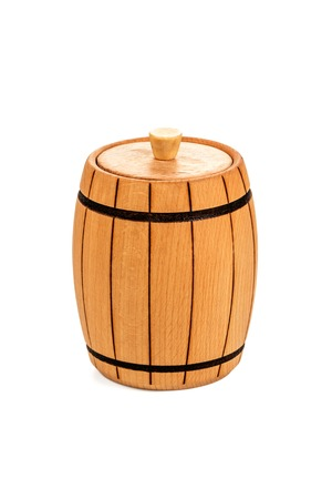 closed corks: Small wooden barrel covered with a lid varnished closeup isolated on white background