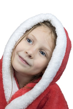red bathrobe: Portrait of a little wet beautiful girl in a bathrobe with hood isolated on a white background