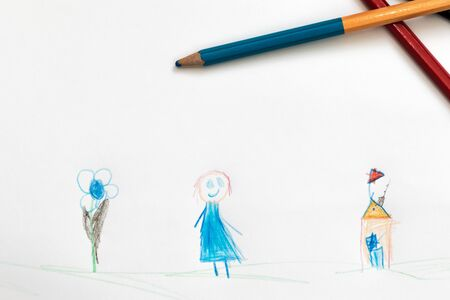 affinity: Children drawing with a flower girl and building with a flag made in pencil
