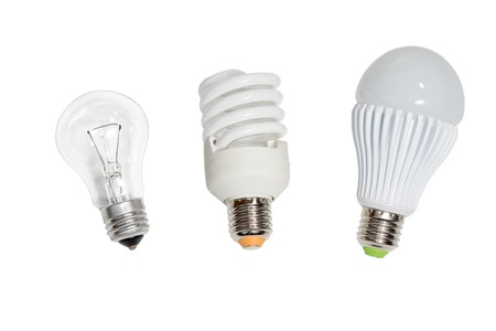 helical: Incandescent, helical fluorescent, LED light bulbs isolated on white background