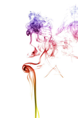 steam mouth: Mystical human face of colored smoke isolated on a white background Stock Photo