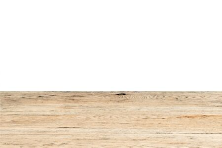 black bitch: Vintage brown oak table closeup isolated on white background