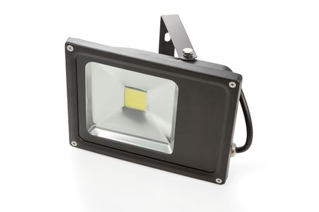 economical: Economical LED spotlight black with cable isolated on white background