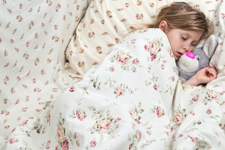 sweetly: Little girl sweetly asleep in an embrace with a toy hare sheltered blanket