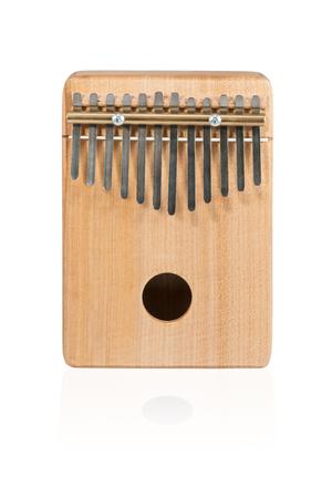 Wooden ethnic African instrument Kalimba isolated on white background Standard-Bild