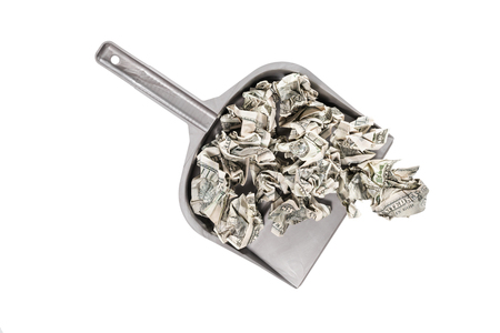 cleaning debt: Crumpled hundred dollar bills in a scoop top view isolated on a white background
