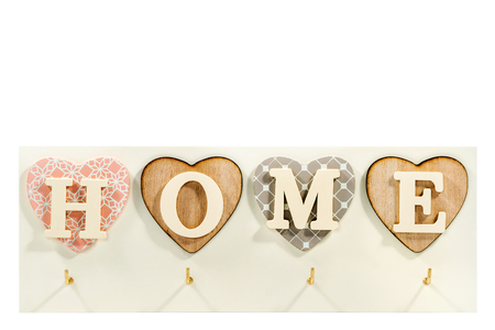 Beautiful art housekeeper with home letters in hearts isolated on white background Stock Photo