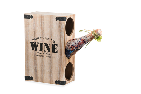 expensive: Wooden box with holes for storing bottles of wine isolated on white background Stock Photo