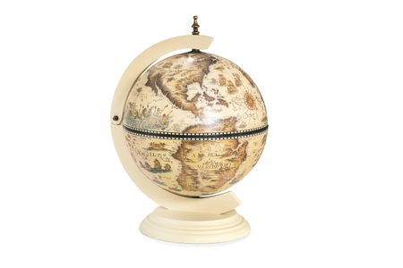 old vintage historical globe with america in the foreground isolated on white background Banque d'images
