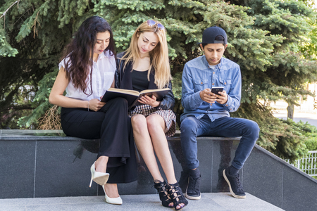group of students learn from a book sitting on the parapet of a large spruce Stock Photo