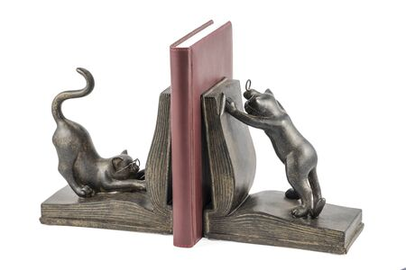 bronze statuette with cats reading a book, to support books, isolated on white background