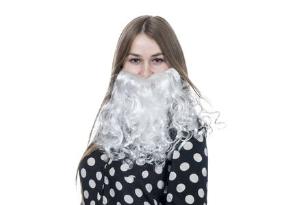 portrait of beautiful business woman with white santa beard isolated on white background Banco de Imagens