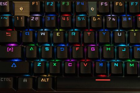 beautiful black keyboard with multi-colored backlight, close-up