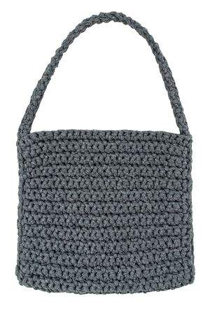 Handmade gray female knitted textile bag isolated on white background